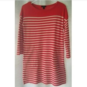 J Crew XS boatneck red striped tunic top